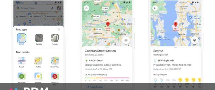 Google Maps lance plein de nouveautés : Live View, éco-itinéraires, qualité de l'air, météo…