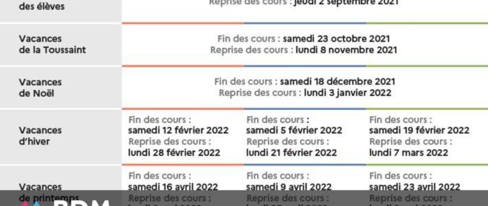 Calendrier scolaire 2021-2022 avec les dates des vacances scolaires des zones A, B et C