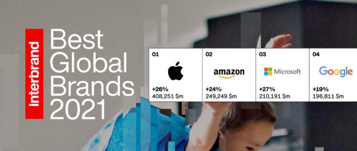Interbrand dévoile les 100 marques les plus puissantes de 2021